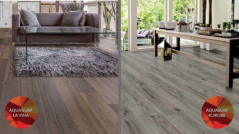 AquaSurf Laminate Flooring in Kurobe and La Vina styles. Exclusively at Breegle's Abbey Carpet and Floor